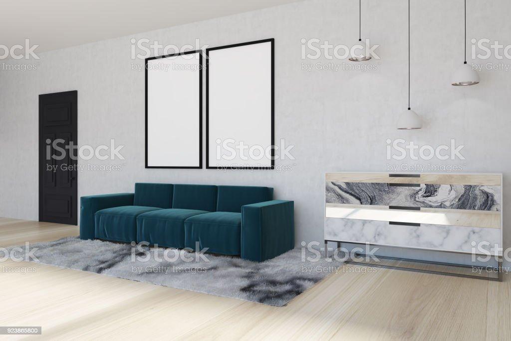 Spiegel Wohnzimmer Blaue Ecksofa Seite Stockfoto und mehr Bilder von  Behaglich
