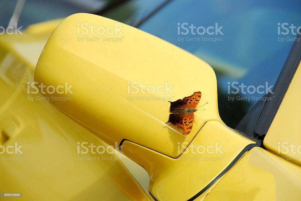 Mirror of yellow sports car royalty-free stock photo