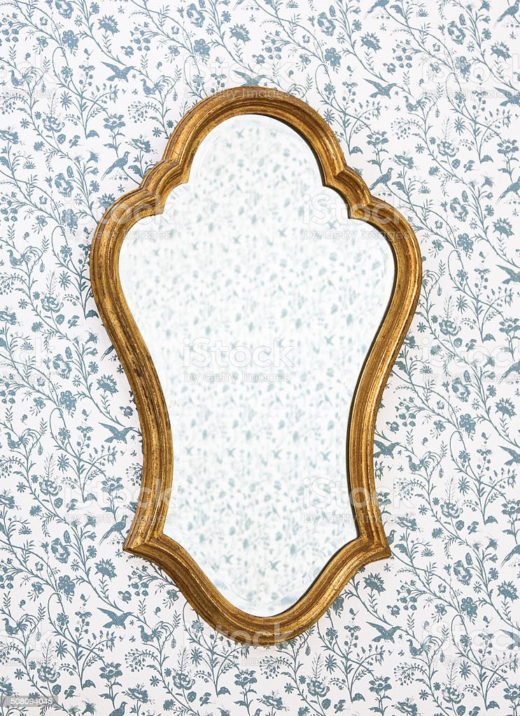 Mirror on wall stock photo