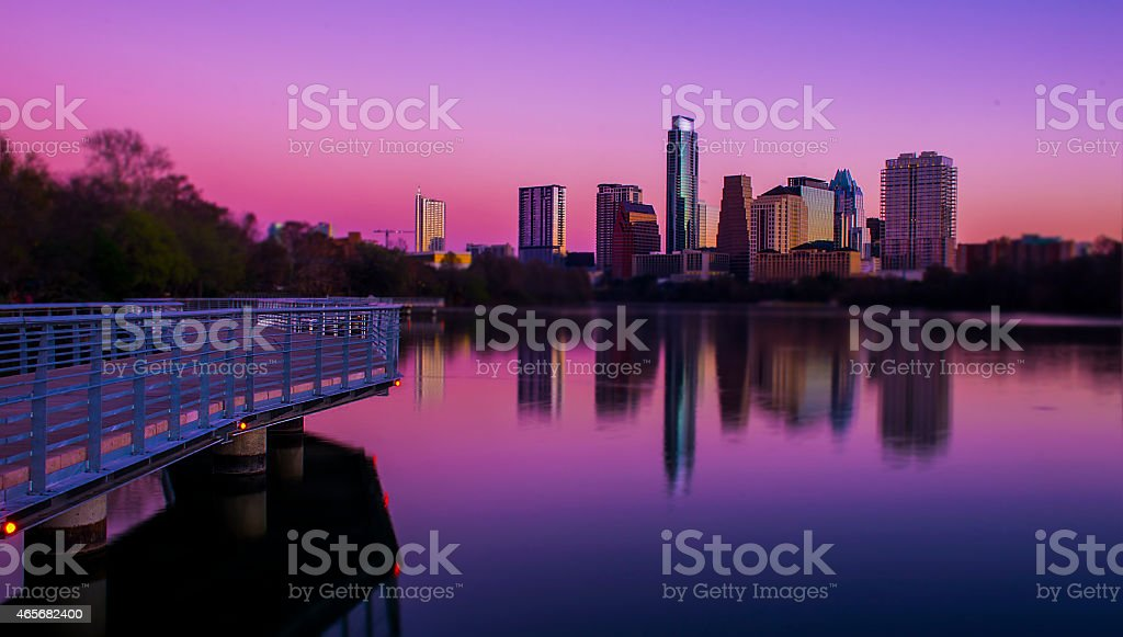 Mirror Reflection Austin Skyline Morning Rainbow Glow stock photo