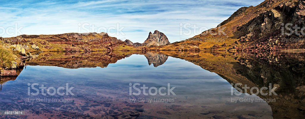 Mirror reflection in small lake of Anayet plateau stock photo