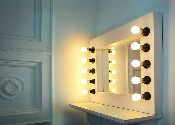 mirror with bulbs for make up - salons et coiffeurs photos et images de collection