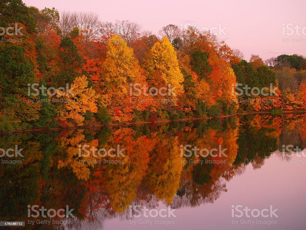 Mirrored Autumn Twilight at Lake Nockamixon - Pennsylvania stock photo