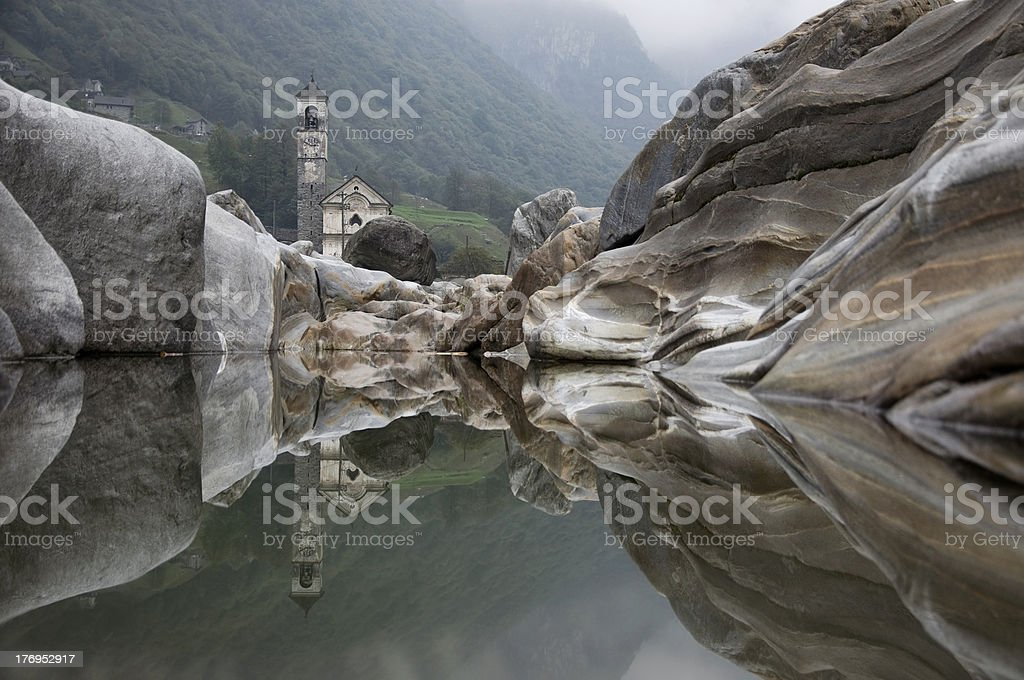 Mirrored church. stock photo