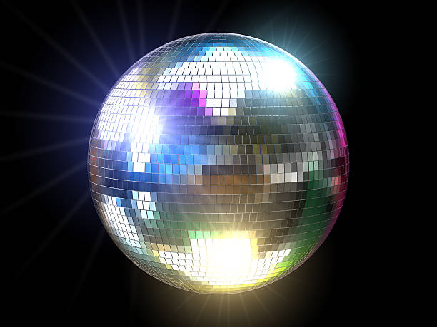 Mirrored disco ball reflecting colored lights A three-dimensional disco ball with colored reflections and flares over black background. disco ball stock pictures, royalty-free photos & images