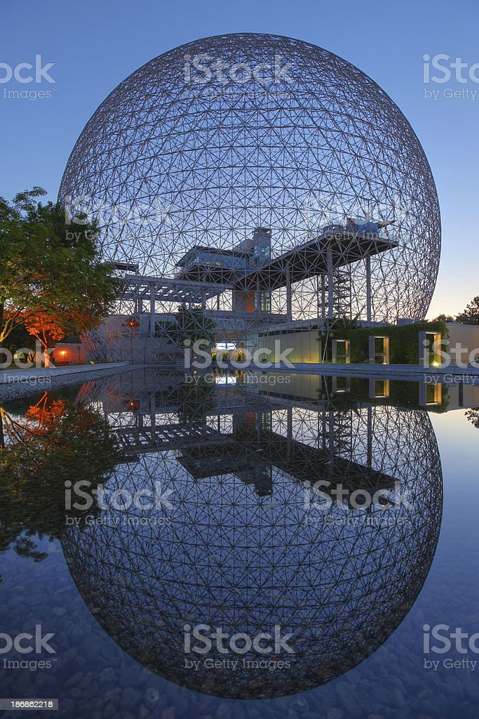 Mirrored Montreal Biosphere at Sunset stock photo