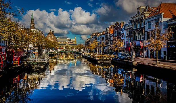 Mirrored Leiden, Netherlands leiden stock pictures, royalty-free photos & images