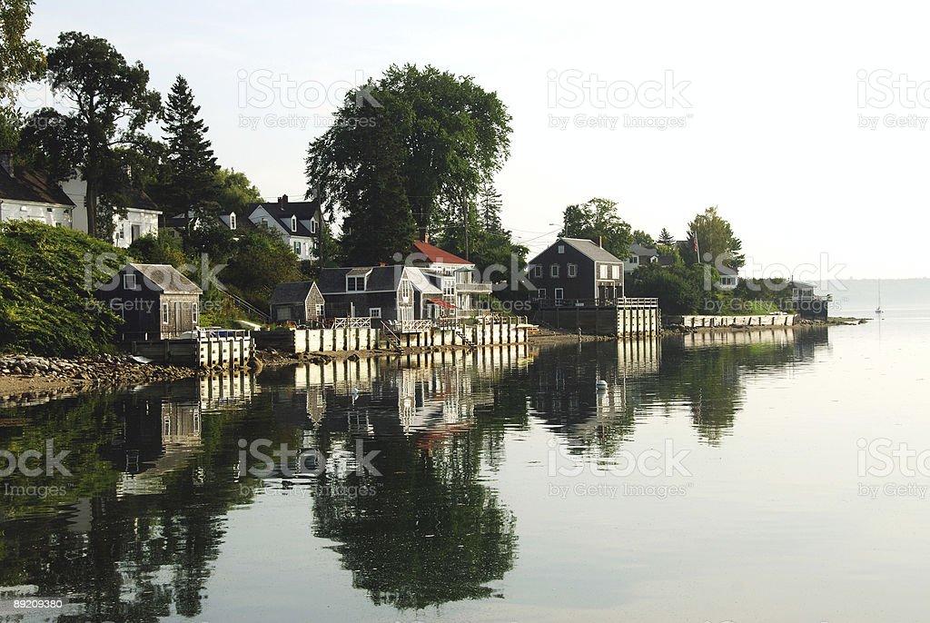 Mirrored Village stock photo