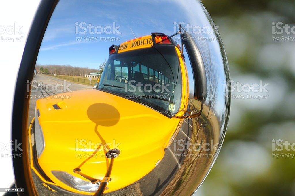 Mirrored Yellow School Bus royalty-free stock photo