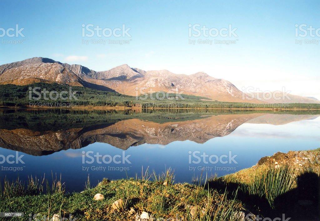 mirrorlike lake stock photo