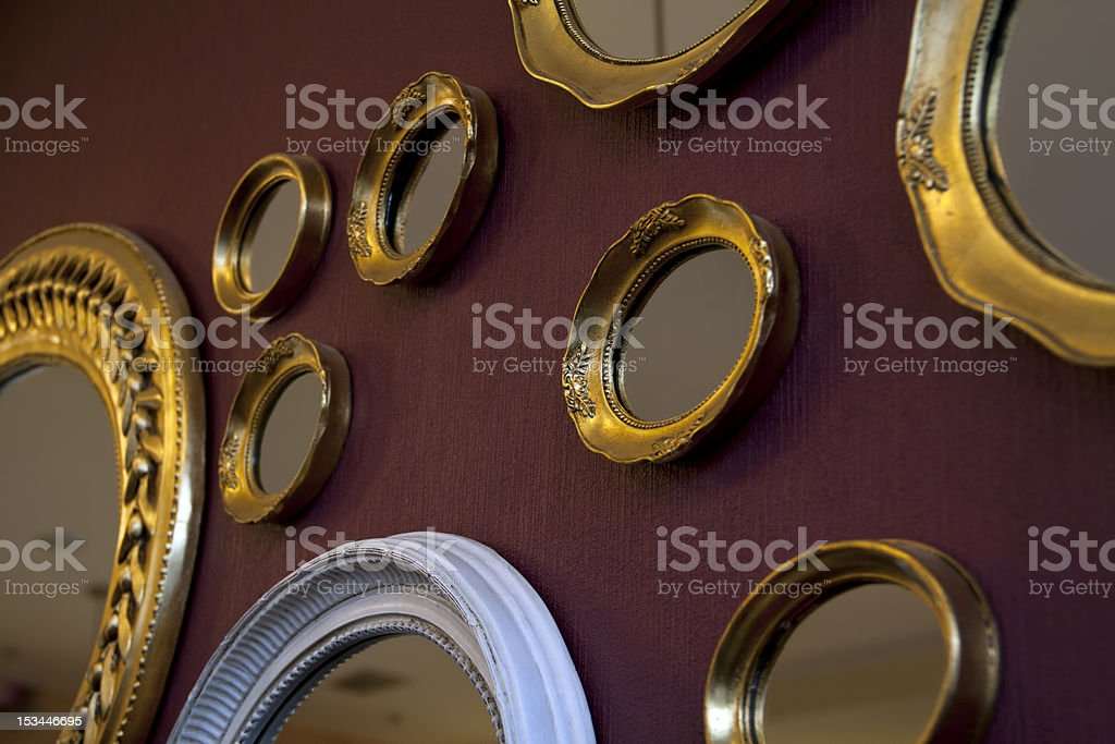 Mirrors frame on the wall stock photo
