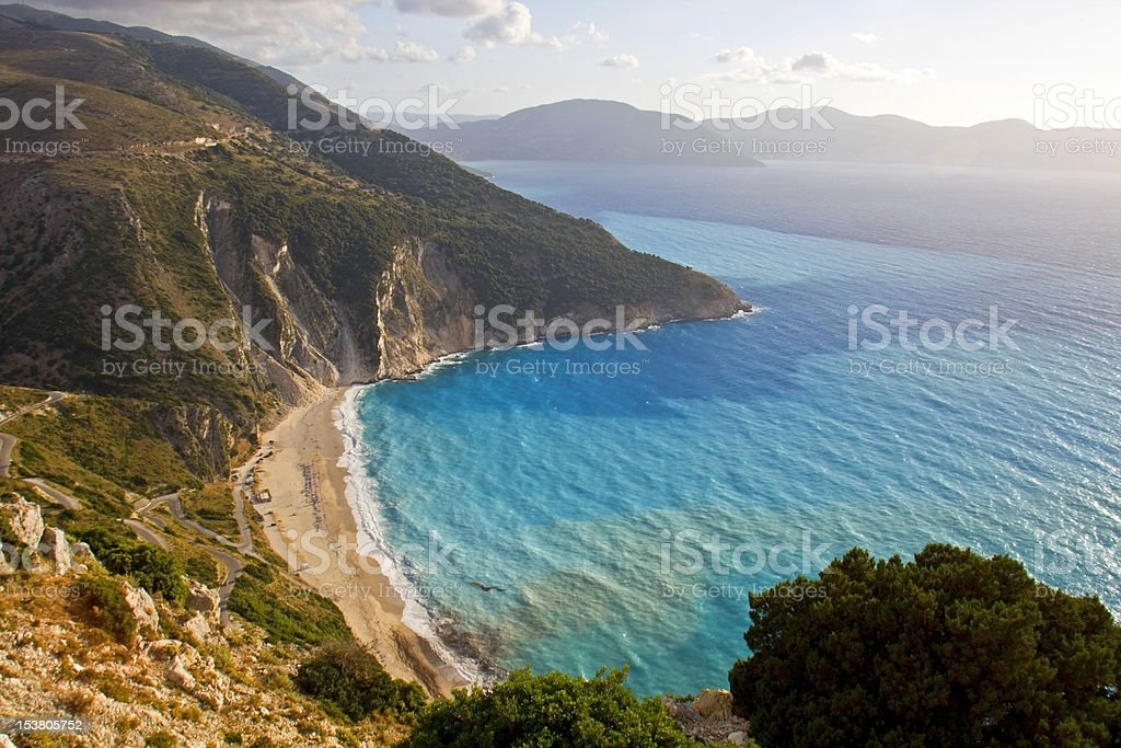 Mirtos beach at Kefalonia island in Greece stock photo
