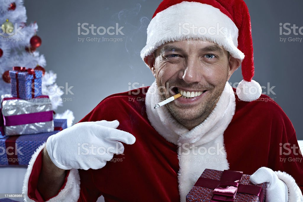 Misbehaving Santa royalty-free stock photo