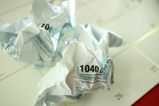 close up shot of 1040 tax forms