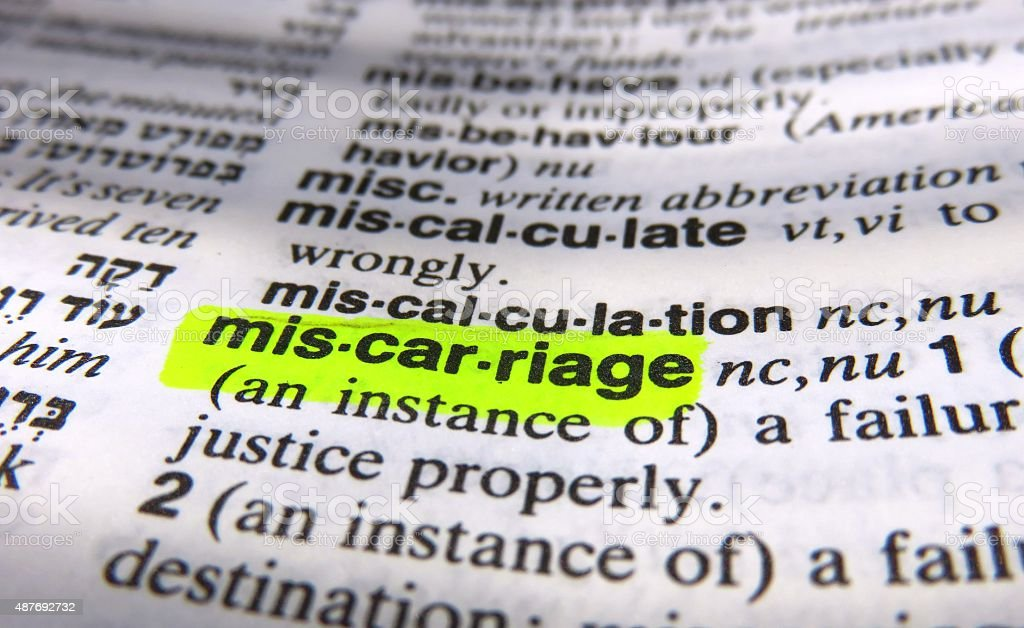 miscarriage- dictionary definition stock photo