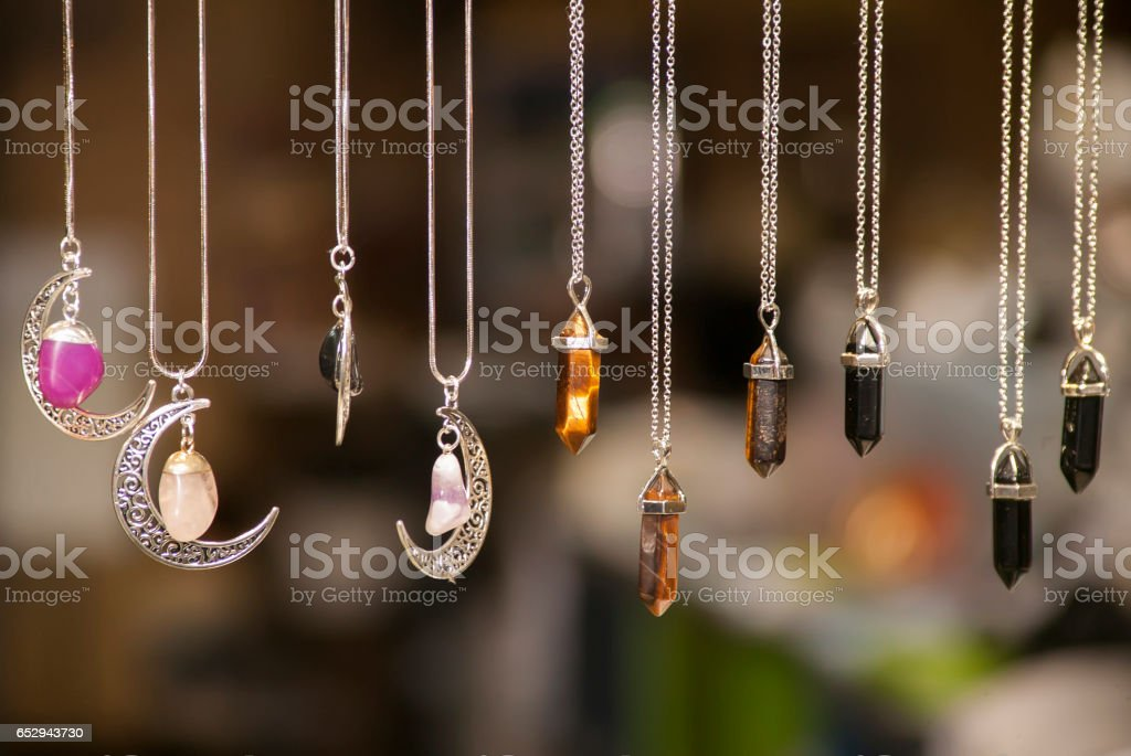 Miscellaneous silver necklaces stock photo
