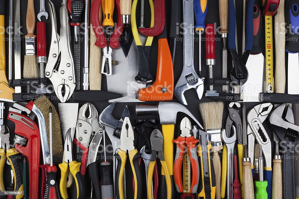Miscellaneous work tools. royalty-free stock photo