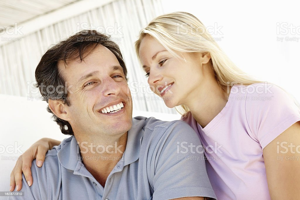 Misd adult woman looking at her husband royalty-free stock photo