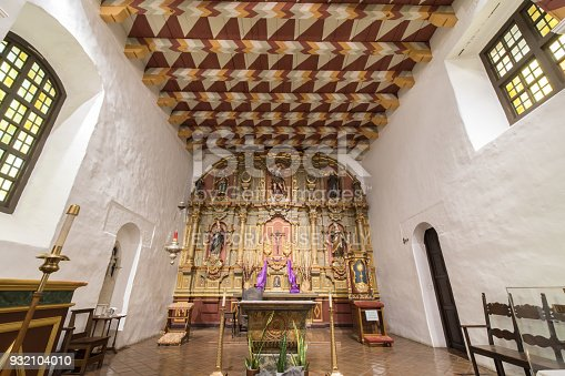 San Francisco, California - March 10, 2018: Interior of Church Altar of the Mission San Francisco de Asis, or Mission Dolores