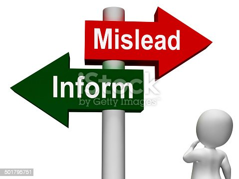 Mislead Inform Signpost Showing Misleading Or Informative Advice