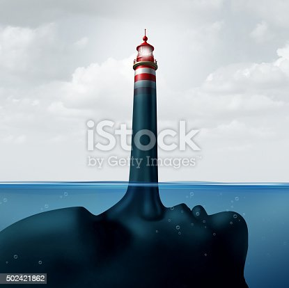 Mislead and misleading business concept as a human face under water with a liar nose protruding out shaped as a shinning beacon lighthouse providing false guidance and fraudulent advice.