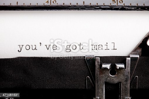 istock Mismatch technology, internet and old typewriter 471481531