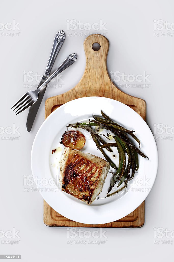 miso glazed sea bass stock photo