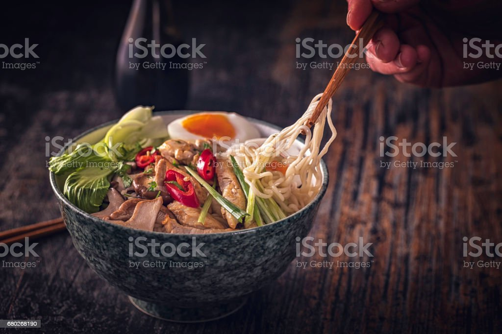 Miso Ramen Noodle Soup stock photo