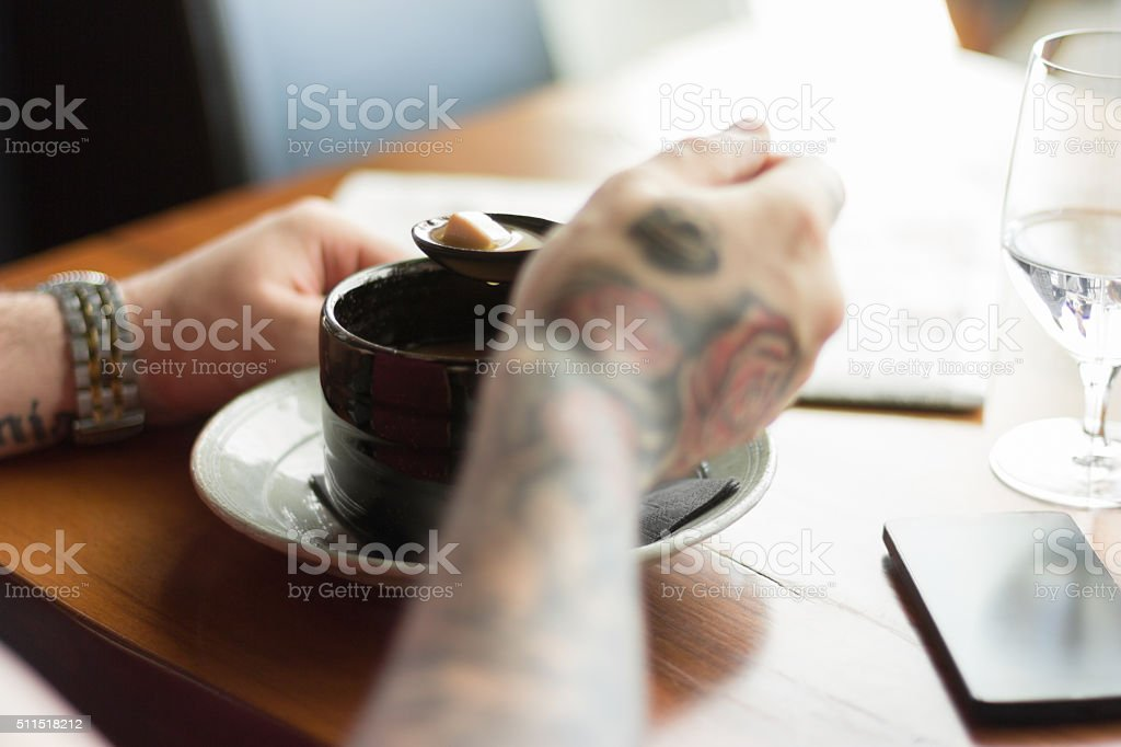 Miso soup for lunch stock photo