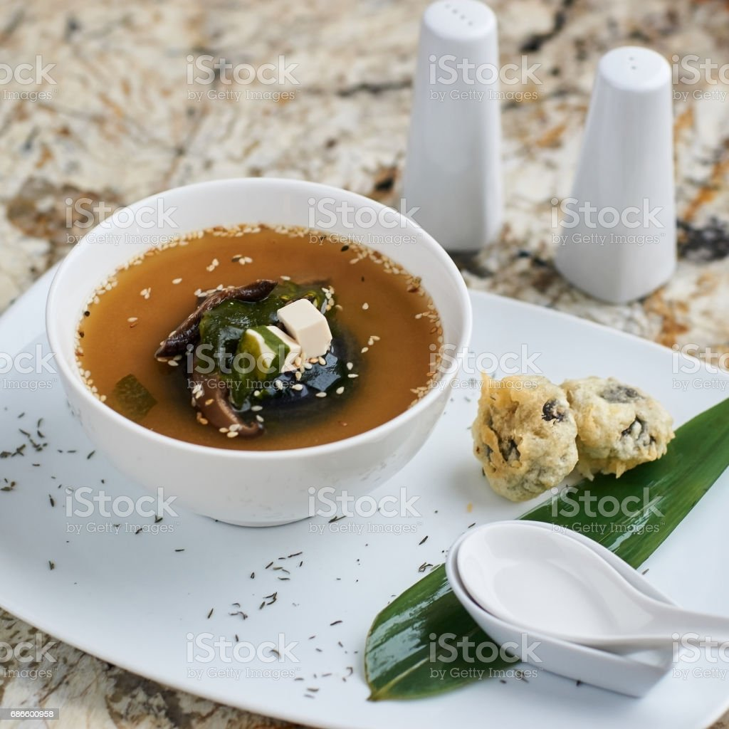 Miso soup with shiitake mushrooms royalty-free stock photo