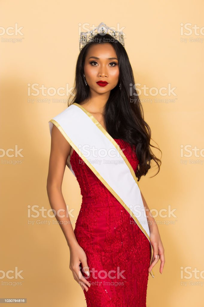 Miss Beauty Pageant Queen Contest in Asian Gown stock photo