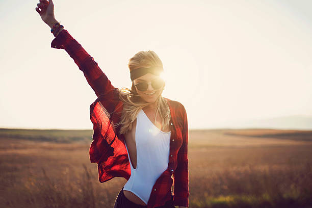 miss sunshine - hipster fashion stock photos and pictures