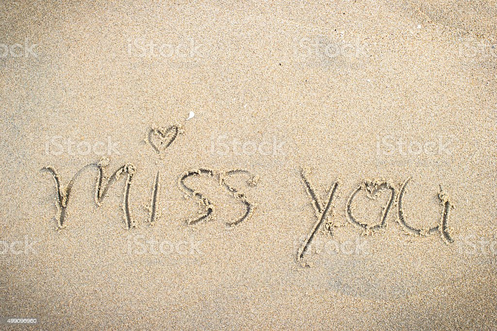 Miss You Handwritten In Sand For Natural Symboltourism Stock Photo