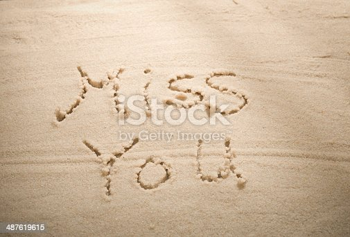Miss You Message Handwritten on Tropical Beach