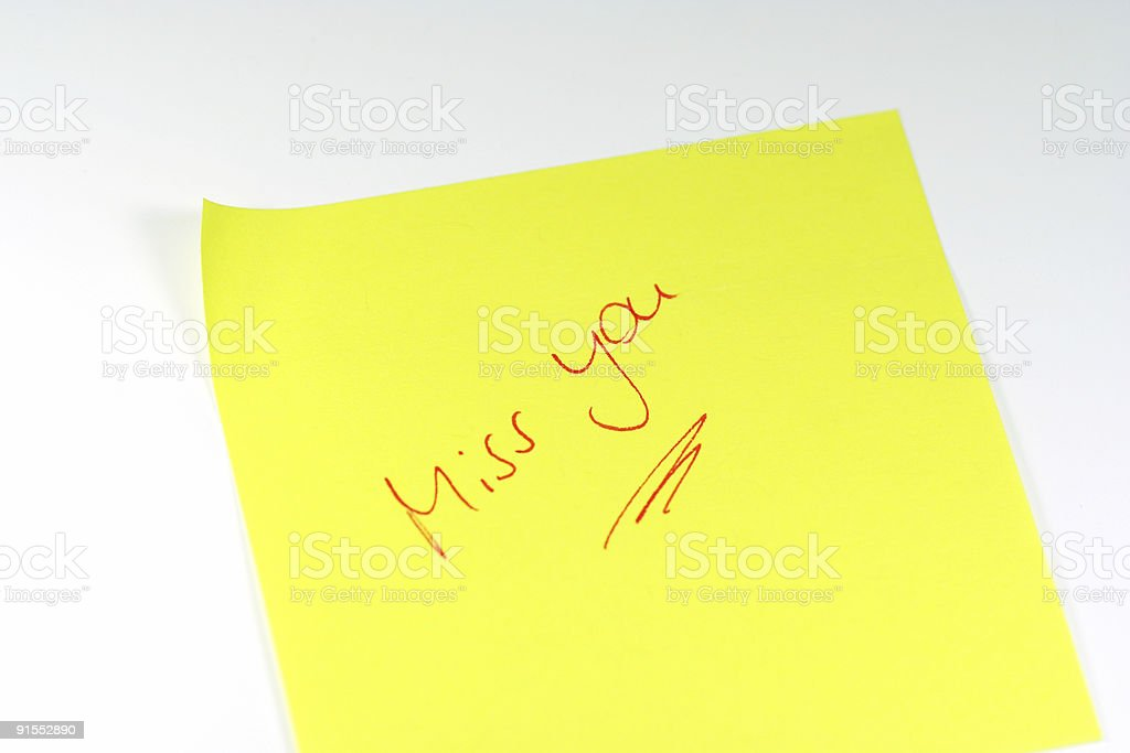 Miss you note royalty-free stock photo