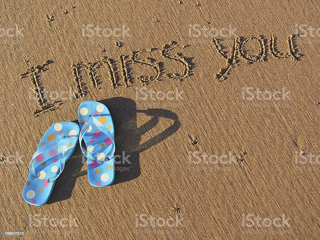 I Miss You - Polka Dot Sandals on Beach royalty-free stock photo