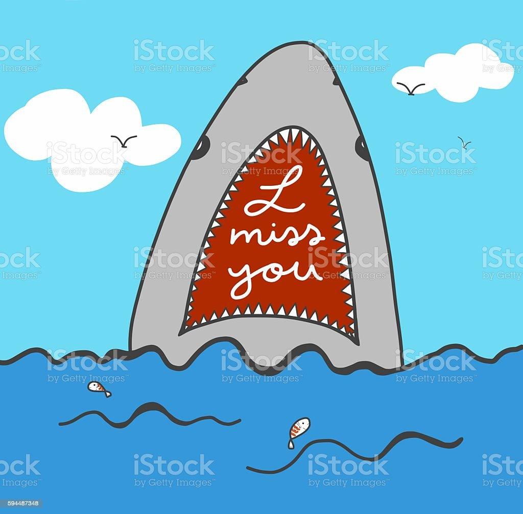 I miss you word in shark mouth and sea illustration stock photo