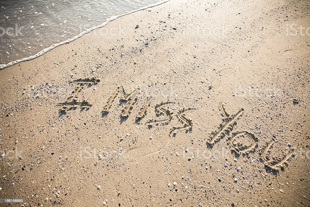 I Miss You Written on the Sand royalty-free stock photo