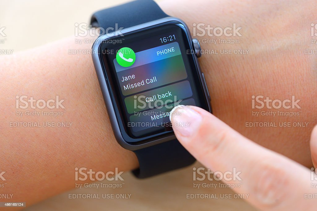 Missed call on Apple Watch stock photo