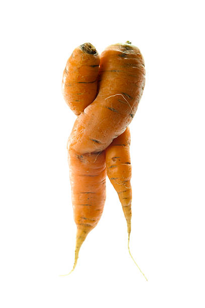 misshapen carrots in love. - disfigure stock pictures, royalty-free photos & images