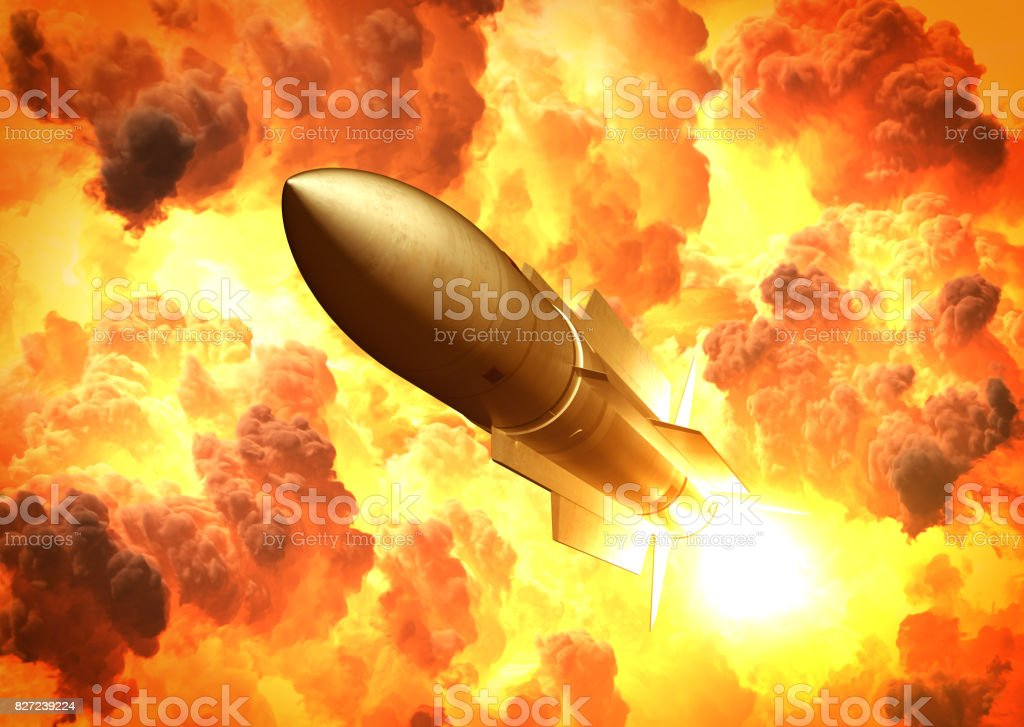 Missile Launch In The Clouds Of Fire stock photo