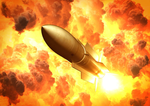 missile launch in the clouds of fire - nuclear weapon stock photos and pictures