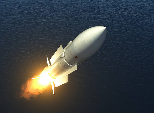 Missile Launch On The High Seas stock photo