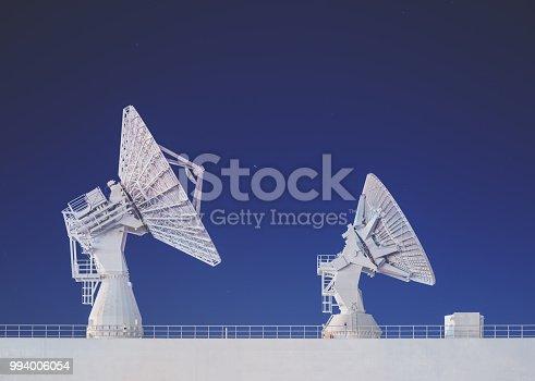Satellite dishes aboard a Missile Range Instrumentation Ship.