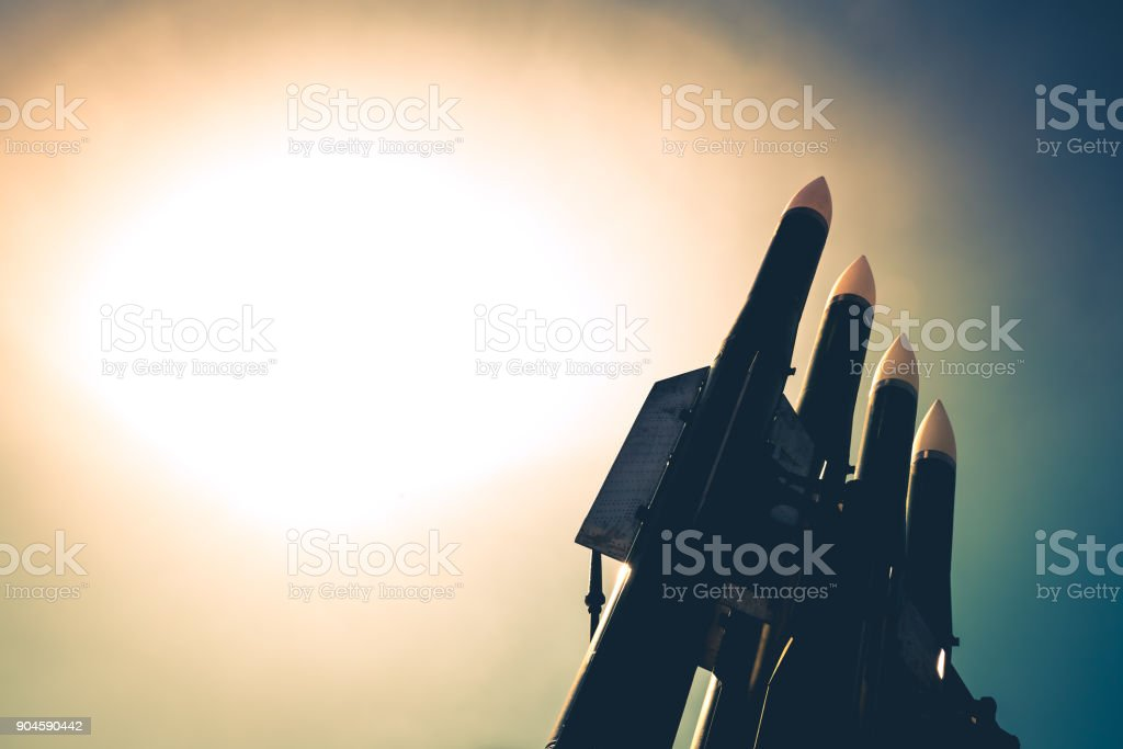 Missiles of anti aircraft-rocket complex are on guard of country's security stock photo