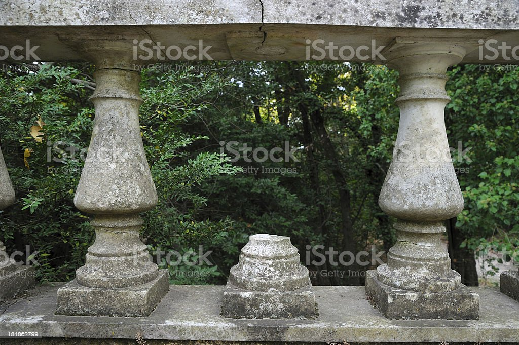 \'Old stone balustrade in Tatoi forest, Greece.\'
