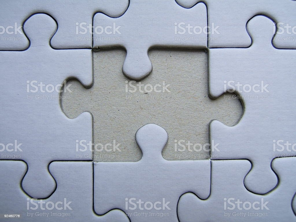 Missing element of a puzzle stock photo