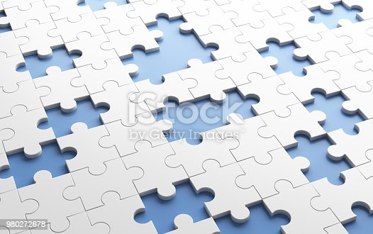 Missing jigsaw puzzle pieces in unfinished work concept. White pattern texture background. 3d illustration