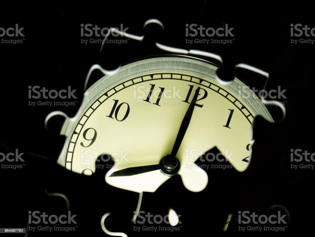 Missing jigsaw puzzle pieces on Alarm clock background, Business solution concept, Time for success concept - Royalty-free Alarm Stock Photo