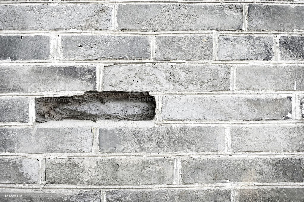 Missing Piece on a Brick Wall royalty-free stock photo